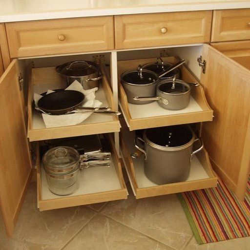 Attractive DIY Pull Out Trash Can In A Kitchen Cabinet (Amazing Idea)