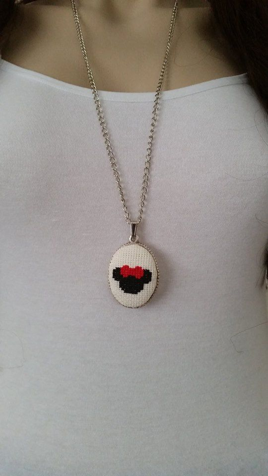 Cross stitch necklace, necklace, cross stitch jewelry, Valentine's Day gift, embroidery necklace, cross stitch pendant, textile jewelry,