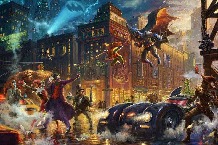 The Dark Knight Saves Gotham City - Thomas Kinkade Studios - DC Comics - World-Wide-Art.com - #dccomics #batman #robin #joker #harleyquinn #riddler #batmobile #poisonivy