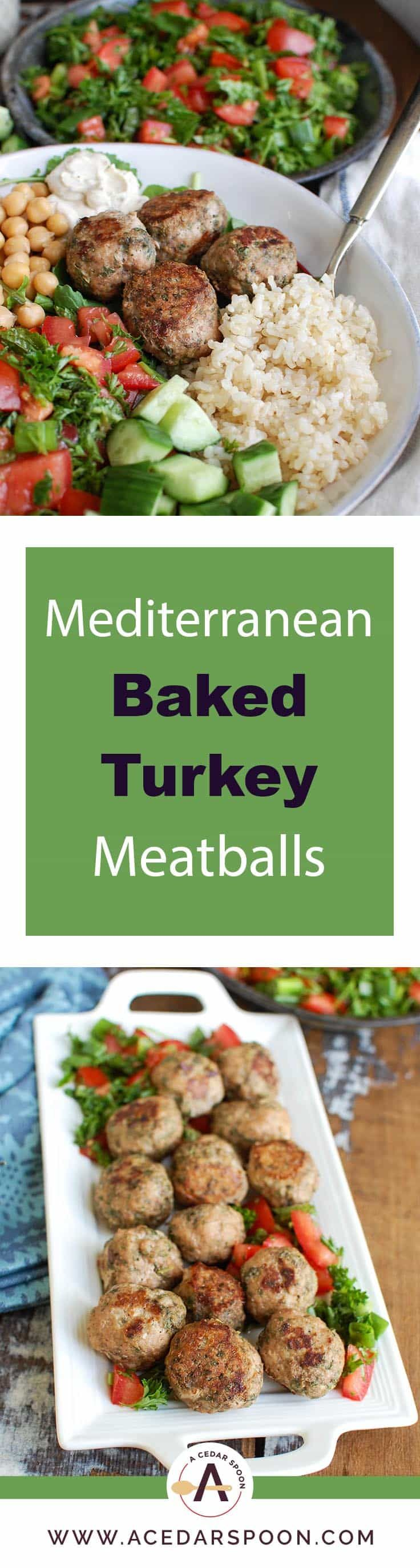 Mediterranean Baked Turkey Meatballs are turkey meatballs mixed with the warm, rich spices of cumin, cinnamon, allspice and cayenne pepper. These meatballs are lean and baked to create a healthy meal option. Pair these with fresh Mediterranean ingredients to create a rice bowl for dinner! // A Cedar Spoon