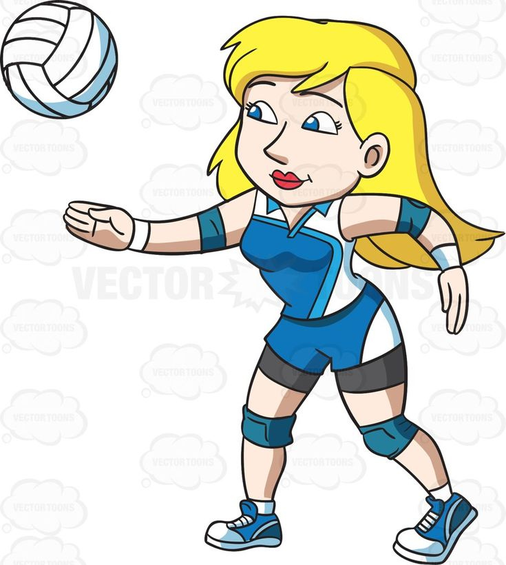 A Female Volleyball Player On A Service Play Cartoon ...