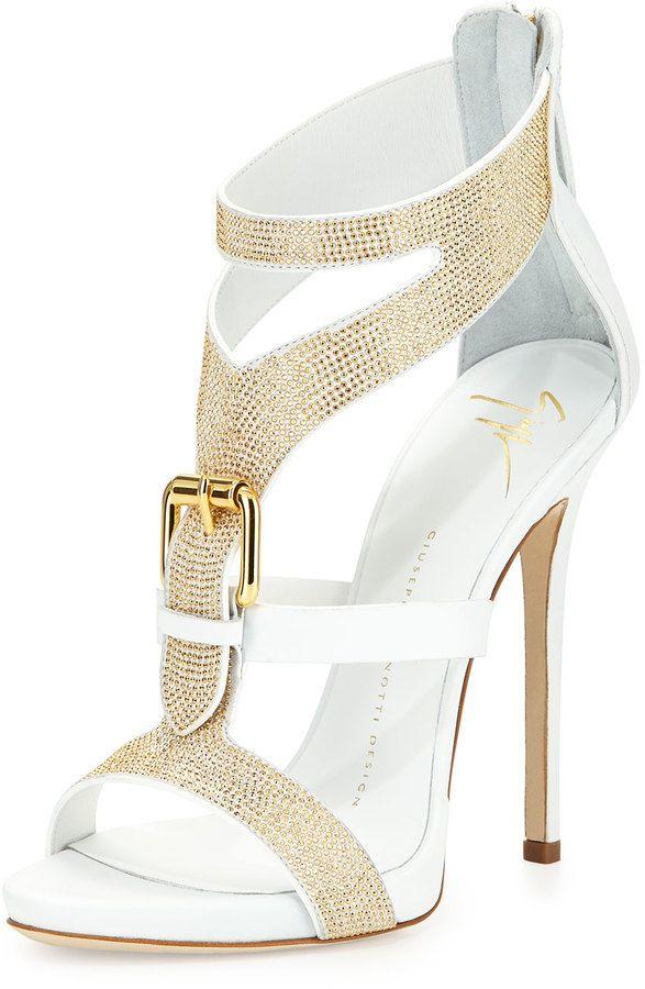 FashionShoes | Rosamaria G Frangini || Giuseppe Zanotti Strass Buckle Leather Sandal, Bianco***