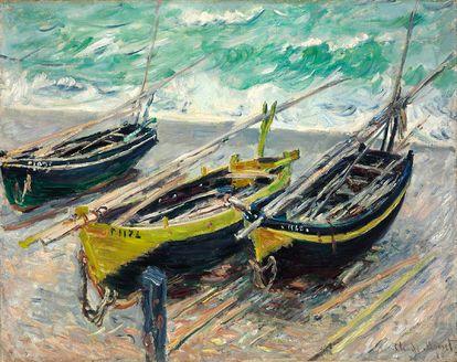 Quadro Três Barcos de Pesca de Claude Monet - A marca d'água acima (quadrosetelas.com) não aparecerá no produto final.