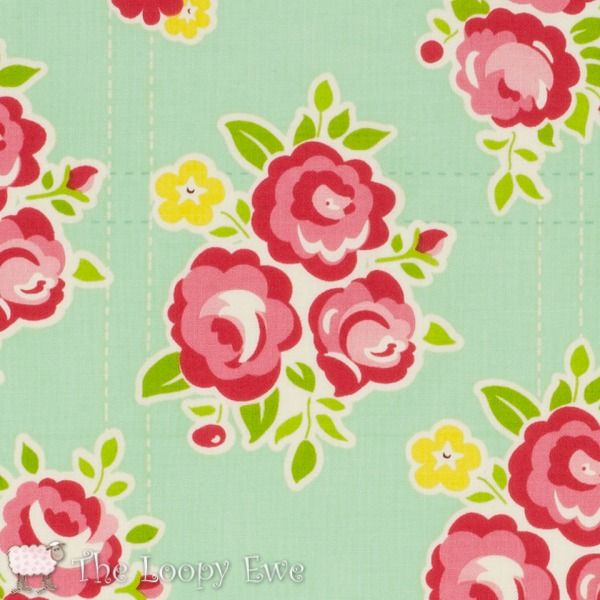 Floral Teal in Sidewalks from Riley Blake at The Loopy Ewe ($10.50)