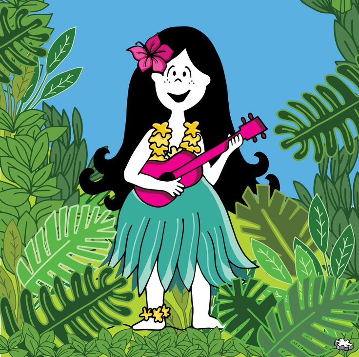 Lux hawaiana!   #lux #muñeca #pink #doll #hawai #ukelele #green #plants #ilustration #ilustracion ver mas en FB: lux la muñeca