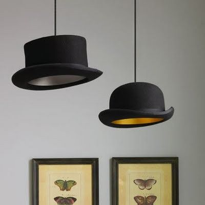 Repurposed hats as lampshades (Graham and Greene)