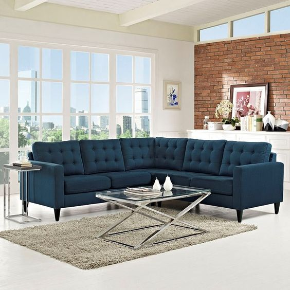 What a novel way of placing the 3+2 sectional sofa! Have guests over, make it a 5-seater!   https://www.barcelona-designs.com/products/eei-1417-empress-3-piece-fabric-sectional-sofa-set?utm_content=buffer120f4&utm_medium=social&utm_source=pinterest.com&utm_campaign=buffer #interiordesign #midcentury #homedecor #livingroom #sofaminimals #buttonsofa #sectionalsofa