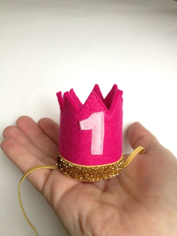 Birthday Crown Pink Felt Crown Headband MINI Gold Glitter - Any Age Number on Etsy, $17.00