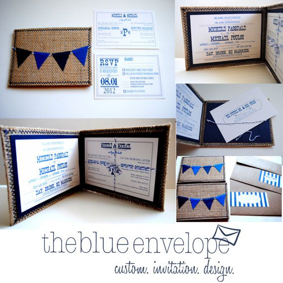 Burlap Wedding Invitations with bunting banner by blueenvelope, $8.50