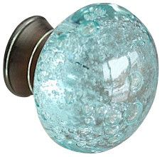 Glass Bubble Drawer / Cabinet Knob, Blue modern-cabinet-and-drawer-knobs