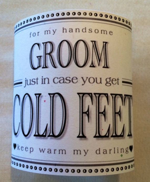 """Fabulous Groom's Wedding Gift from Bride """"Just In Case You Get Cold Feet"""" Label (Add Your Own Socks!)Optional I Do Me/Too Shoe Sticker Too!"""