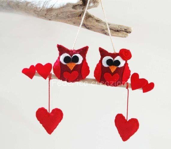 decoro san valentino,gufi in feltro,regalo,appendere,fatto a mano : Accessori casa di federica-creazioni