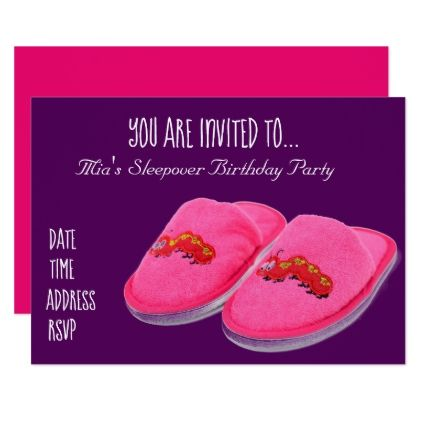 Pink slipper Slumber sleepover birthday party Card - girly gifts special unique gift idea custom