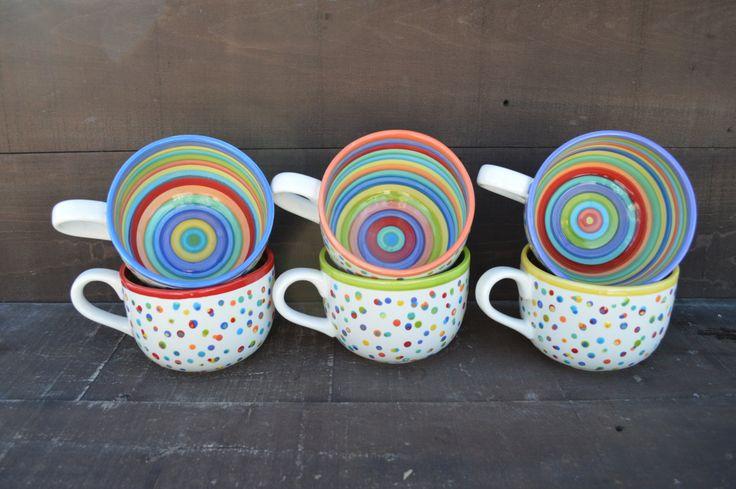 Dots and Stripes Ceramic Coffee or Soup Mug