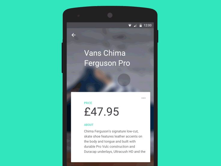 An interaction concept of a product details screen in a retail app.