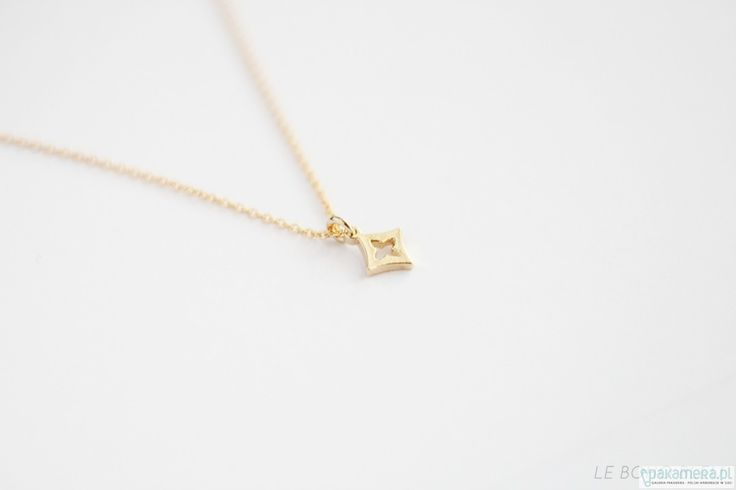 naszyjniki - inne-16k Gold Plated Tiny Diamond Charm Necklace