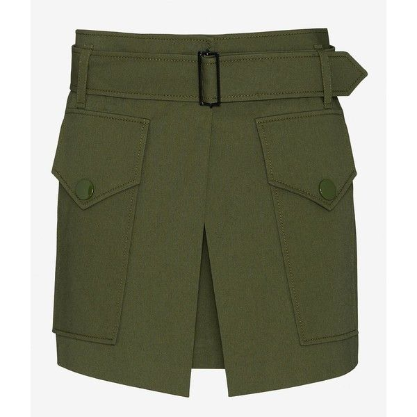 Barbara Bui Two Pocket Military Skirt (9.652.385 IDR) ❤ liked on Polyvore featuring skirts, mini skirts, belted skirt, barbara bui, mini skirt, green mini skirt and short mini skirts