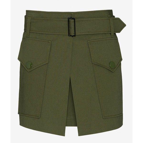 Barbara Bui Two Pocket Military Skirt (£510) ❤ liked on Polyvore featuring skirts, mini skirts, pocket skirt, short green skirt, army skirt, military skirt and green skirt