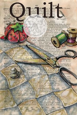 Quilt Mixed Media Drawing on Distressed, Dictionary Page - available for purchase at www.etsy.com/shop/flyingshoes - flying shoes art studio