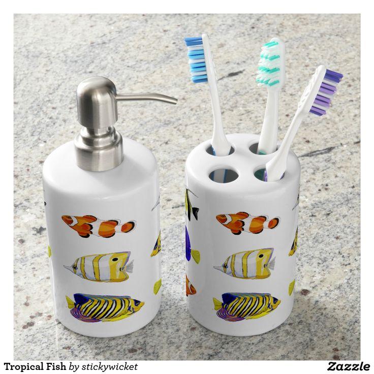 Tropical Fish Soap Dispenser & Toothbrush Holder