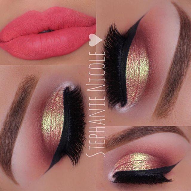Golden eyeshadow and coral lisptick makeup look#shalakawaikar