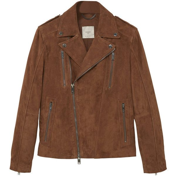 MANGO MAN Suede Biker Jacket ($300) ❤ liked on Polyvore featuring men's fashion, men's clothing, men's outerwear, men's jackets, mens suede jacket, mens suede moto jacket, mens suede biker jacket, mens suede leather jacket and mens sherpa lined jacket