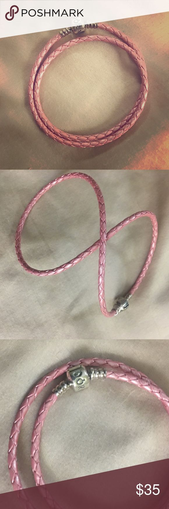 "Pandora Leather Bracelet ""Authentic""  Pink leather Pandora bracelet, gently used and purchased at a Pandora store. Pandora Jewelry Bracelets"