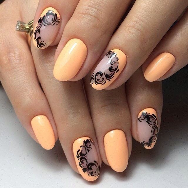 Apricot nails, Business nails, Drawings on nails, Everyday nails, Fall nail ideas, Nails ideas 2017, Nails with black pattern, Nails with curls