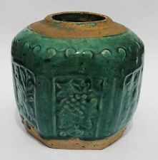 CHINESE Antique GREEN GLAZED CERAMIC GINGER JAR 19th Century