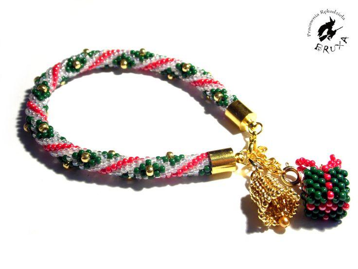 Bransoletka świąteczna, bead crochet, bransoletka szydełkowo koralikowa, bransoletka z koralików Toho, sznur szydełkowo koralikowy