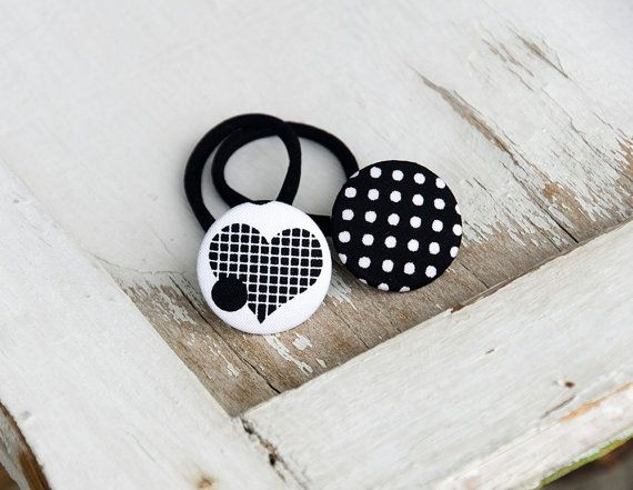 Ponytail holders black Heart and polka dots Toddler elastic