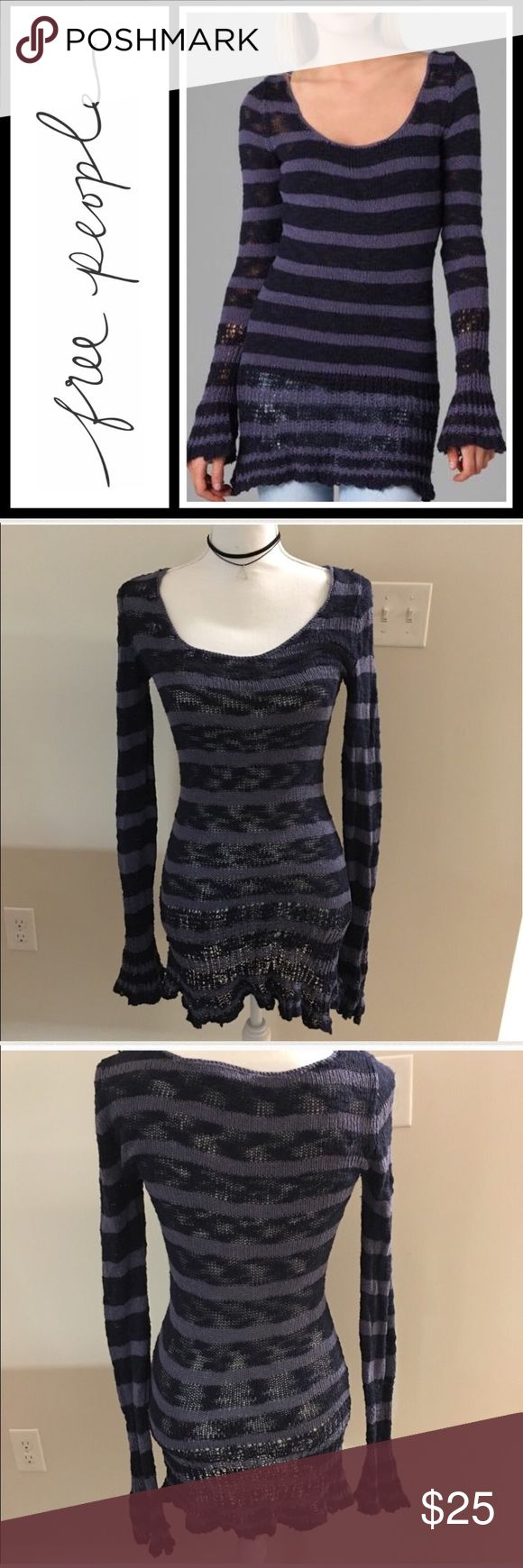 Free People Kiwi Burnout sweater Silk blend sweater- pre loved but lots of life left - size is xs and fits TTS Free People Sweaters
