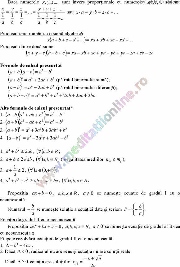 Formule matematica gimnaziu 5 8 Formule si teorie Algebra clasele 5 8 pagina 7
