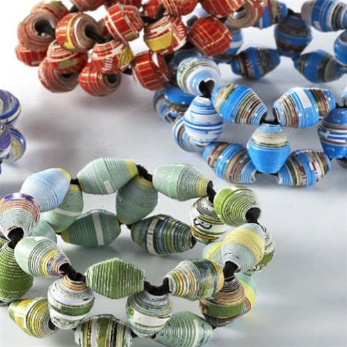 These colorful bracelets contain handmade, recycled paper beads which are interwoven with fabric covered elastic. Every bead is handmade in Cambodian villages from glossy waste paper & old magazines. Unlike others on the market, these are not varnished, just coated with a water based glaze … making them eco friendly and non-irritating to exposed skin! Your purchase assists in creating fair, ethical & sustainable livelihoods for some of Cambodia's poorest people.    $10.00
