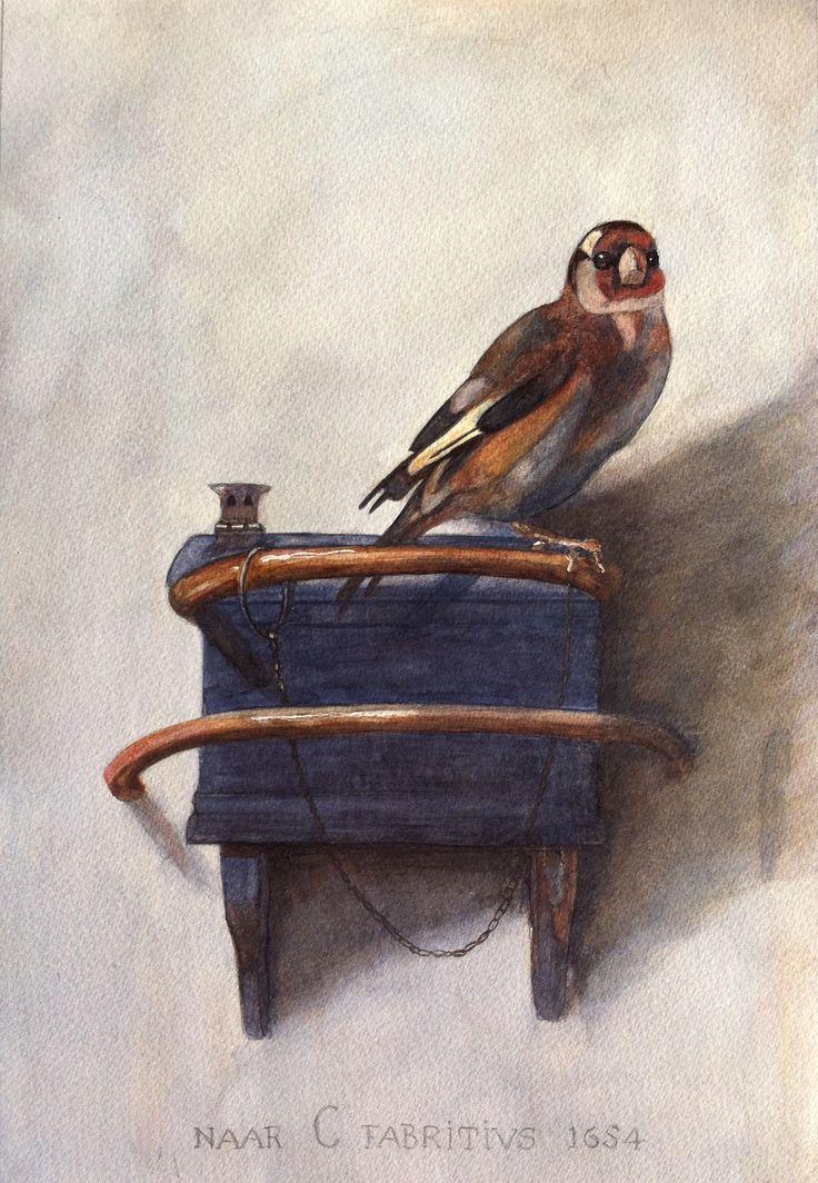 Het puttertje, naar C .Fabricius, watercolour
