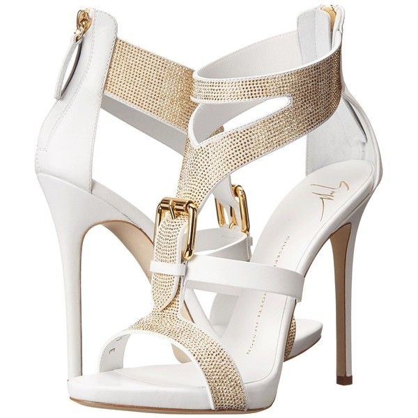 Giuseppe Zanotti E50220 ($1,250) ❤ liked on Polyvore featuring shoes, sandals, heels, high heels, sapatos, white, leather strap sandals, strappy heel sandals, white high heel sandals and platform sandals