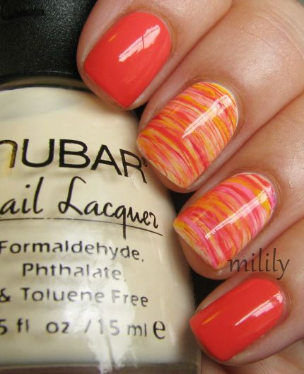 Orange franken with accent nails (polishes used for accent nails: Nubar Yellow Primrose (base), Orange franken, Essie Watermelon, Color Club Yum Gum, and Color Club Almost Famous) (accent nail, spun sugar)