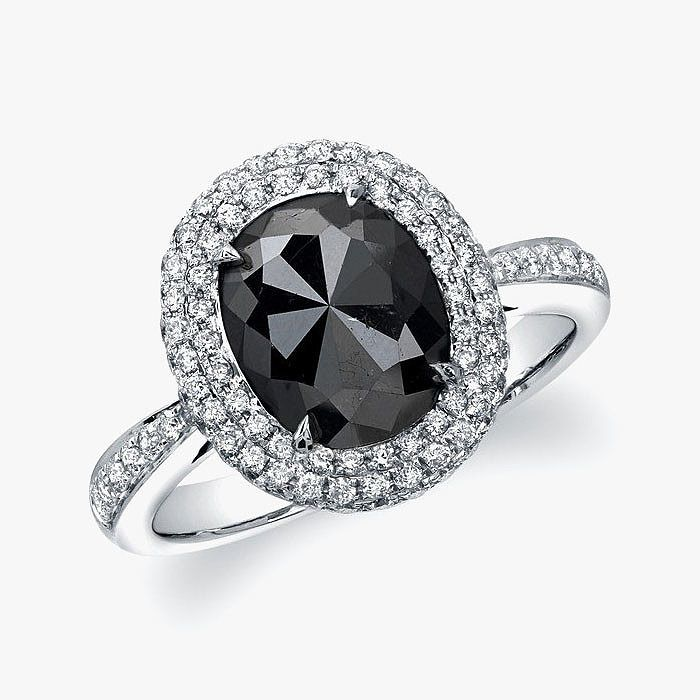 Кольцо Gnat Original Design с черным бриллиантом огранки «роза»