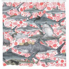 This animal pattern brings together the most unlikely of friendships - Cats and sharks! Liven up your bathroom with this fun and whimsical cat shower curtain by the talented Kozyndan. Sharp Shirter pr