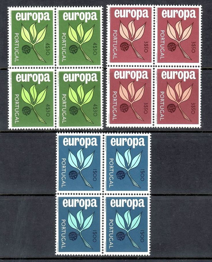 PORTUGAL 1965 SCOTT# 958 959 960 EUROPA CEPT BLOCK OF 4 STAMPS, MNH