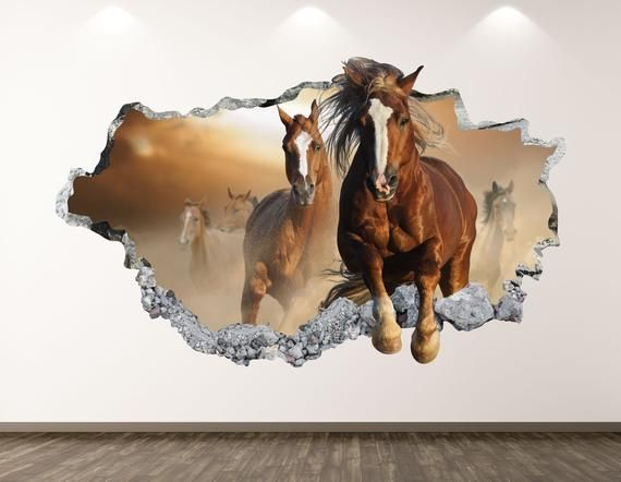 Horses Wall Decal Farm Animal 3d Smashed Wall Art Sticker Etsy Horse Wall Decals Horse Wall Horse Mural