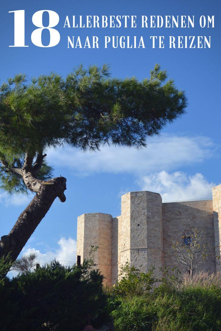 Ik geef je maar liefst 18 redenen om naar Puglia te reizen! Zoals het indrukwekkende Castel del Monte in de gemeente Andria. Het kasteel werd gebouwd door Frederik II. Dit UNESCO-werelderfgoed is beroemd vanwege de fascinerende numerieke complexiteit: werkelijk alles aan het kasteel is achthoekig! Prachtig erfgoed in Puglia, in het Zuiden van Italië. Reistip!