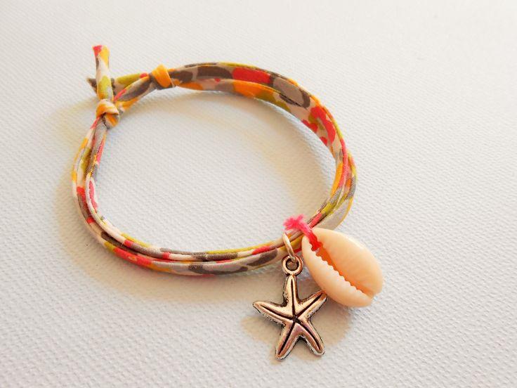 bracelet coquillage - bracelet étoile de mer- bracelet liberty - bracelet coquillage cowrie - bracelet plage - bracelet marin : Bracelet par esthete-bijoux