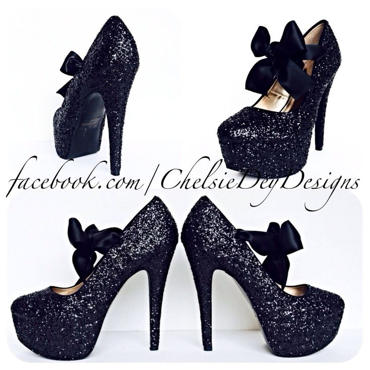 Glitter High Heels - Black Pumps - Sparkly Platform Pumps - Black Satin Bows - After Dark by ChelsieDeyDesigns on Etsy https://www.etsy.com/listing/97902835/glitter-high-heels-black-pumps-sparkly