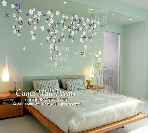 flowers wall decals nursery white flower vinyl wall decal  by cuma, $79.00