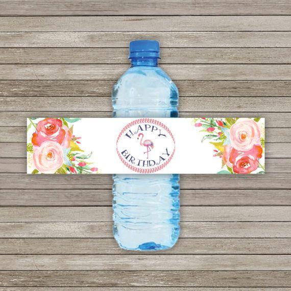 Flamingo Water Bottle Label Tropical Water di Twentyoneartstudio