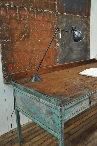 Workbenches old wood floors and painted metal on pinterest for Industrial paint for metal