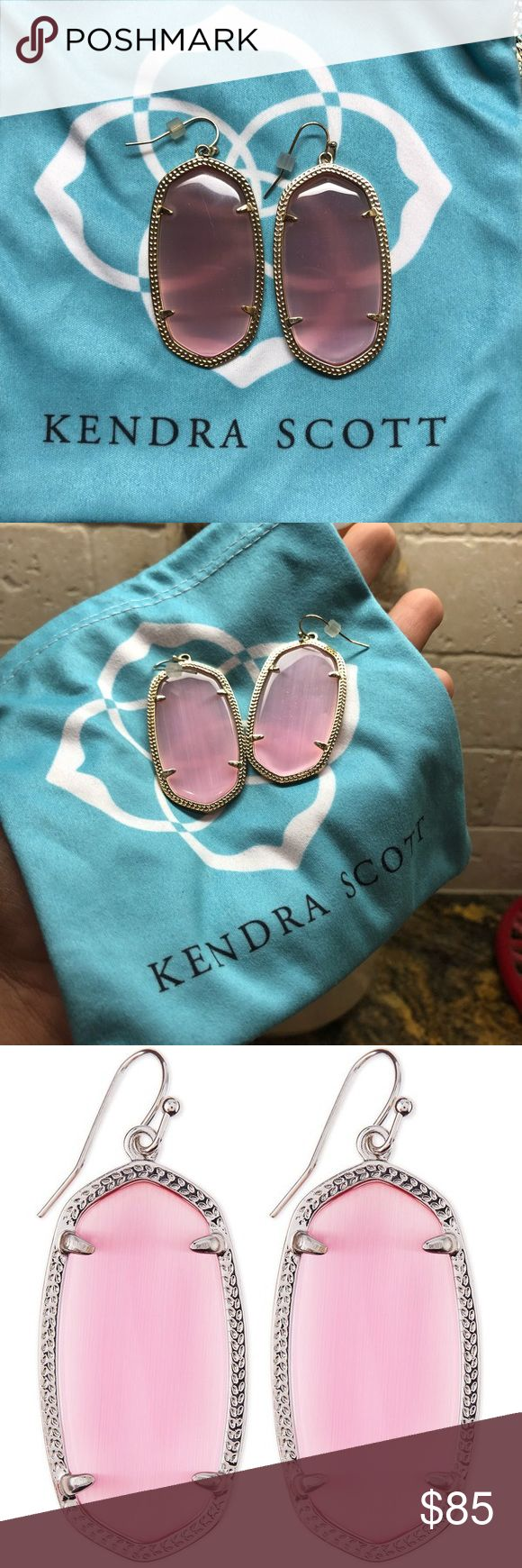 Kendra Scott Danielle earrings Gold plated with a gorgeous pink cats eye stone💕  They do have some scratches but not too noticeable, you are able to see them in the pictures. Last picture is just a stock photo to show the stone💕 Kendra Scott Jewelry Earrings