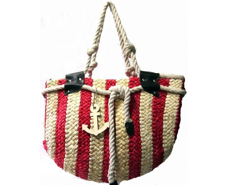 Red Striped Straw Bag with Anchor Pendant - The Handbag Hut