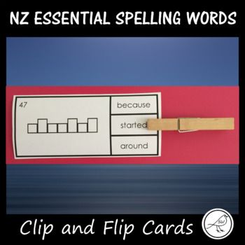 New Zealand Essential Spelling Words Lists 1-4. 'Clip and Flip' cards - look at the word frame and decide which word fits the frame. Place a peg on that word. Flip the card over and see if you are correct! You can use these cards as a literacy centre activity.